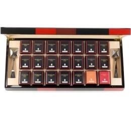 Coffret th� Bayad�re en bois laqu� - 21 bo�tes m�tal - Dammann