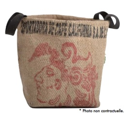 Pani�re en Toile de Jute et coton avec anse noir - L - Lilokawa