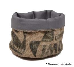 Corbeille en Toile de Jute et doublure coton gris - S - Lilokawa