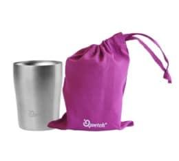 Cup isotherme double paroi inox avec poche de transport en coton bio pourpre 250ml - Qwetch