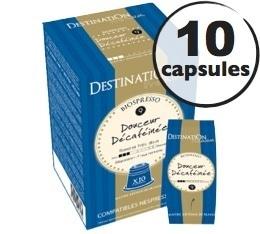Capsules compatibles Nespresso Biospresso Douceur Décaféinées x10 Destination