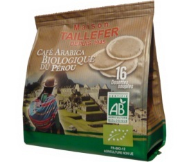 Dosettes caf� Arabica Bio du P�rou x 16 - Maison Taillefer