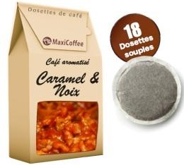 Caf� dosettes souples aromatis� caramel noix x 18