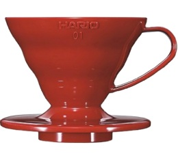 Dripper Hario V60 VDC-01 conique rouge 2 tasses