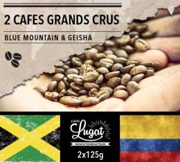 Lot de 2 cafés en grains Grands Crus : Geisha/Blue Mountain - 2x125g - Cafés Lugat