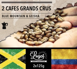Lot de 2 cafés Grands Crus (mouture italienne) : Geisha/Blue Mountain - 2x125g - Cafés Lugat