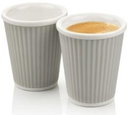2 tasses en porcelaine avec bandeau en silicone gris clair ondulé 10cl - Les Artistes Paris