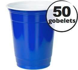 50 gobelets am�ricains bleus - 50 cl (blue cups officiels)