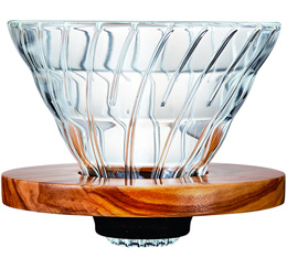 Dripper Hario V60 VDG-02 conique transparent et bois d'olivier 4 tasses