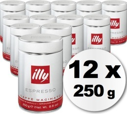 Caf� moulu Illy espresso normal  - 12 x 250g