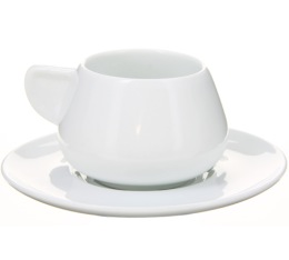 Lot tasses et sous-tasses blanches - 9cl X 12