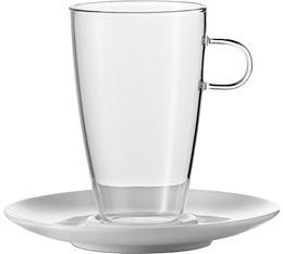 2 Tasses LatteMachiatto Verre + sous-tasses porcelaine 50cl - Jenaer
