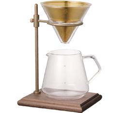 Kit dripper kinto Slow Coffee Style Specialty en verre avec carafe et support en bois