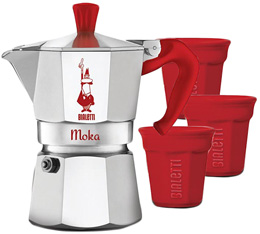 Cafetière italienne Moka Express Bialetti rouge 3 tasses + 3 tasses