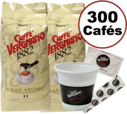 Kit Vergnano 300 caf�s (gobelets + touillettes + sucres + 2kg Gran Aroma)