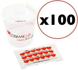 Kit café Cosmaï : 100 gobelets 7cl + touillettes + sucres
