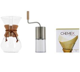 Kit Chemex n°1 : Chemex 6 tasses + moulin + 100 filtres