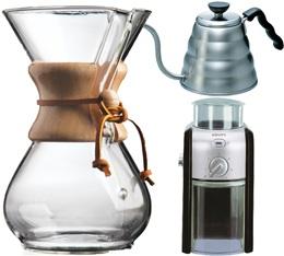 Kit Chemex n�3 : Chemex 6 tasses + moulin + bouilloire + 100 filtres