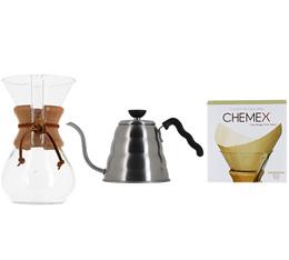 Kit Chemex n°2 : Chemex 6 tasses + bouilloire Hario + 100 filtres