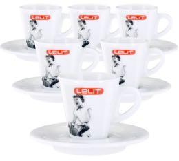 Lot de 6 tasses + sous tasses expresso 7cl - Lelit