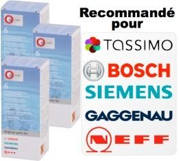 Lot de 3 d�tartrants Bosch / Tassimo / Siemens / Neff
