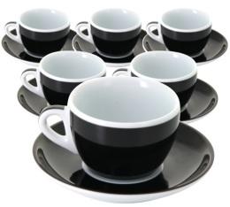 6 tasses et sous-tasses cappuccino Verona noire millecolori - Ancap