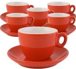 6 tasses et sous-tasses en porcelaine Inker rouges de 16 cl pour cappuccino