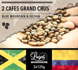 Lot de 2 cafés en grains Grands Crus : Geisha/Blue Mountain - 2x125g - Cafés Lugat