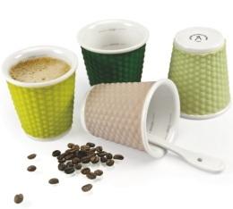 4 tasses en porcelaine avec bandeau silicone (tons vert) nids d'abeille 10cl - Les Artistes Paris