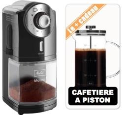 Moulin � caf� Melitta Molino noir inox + Cafeti�re � piston 8 tasses
