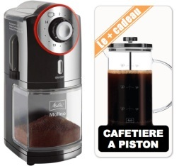 Moulin � caf� Melitta Molino noir rouge + Cafeti�re � piston 8 tasses