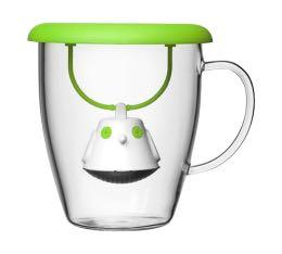 Mug QDO en verre 40cl + couvercle infuseur � th� Birdie vert