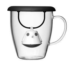 Mug QDO en verre 40cl + couvercle infuseur à thé Birdie noir