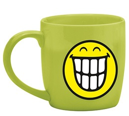 Mug Smiley vert souriant en porcelaine 7.5cl Zak!Design