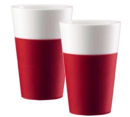 2 mugs BISTRO Bodum porcelaine bandeau rouge 0.6L