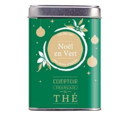 Th� vert en vrac bo�te m�tal 'Noel en Vert' - Comptoir Fran�ais du Th� - 80g
