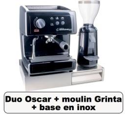 Lot Oscar noire + Moulin � caf� Grinta noir + base en inox - Nuova Simonelli