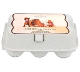 Mini-bo�te de 6 oeufs chocolat au lait pralin� - 78gr - Caf� Tasse