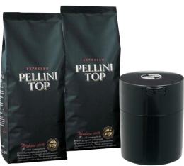 Café en grains Pellini Top 100 % Arabica 2 kg + boîte de conservation Tightvac offerte