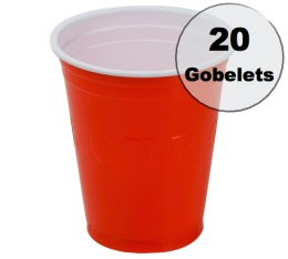 20 gobelets am�ricains rouges - 50 cl