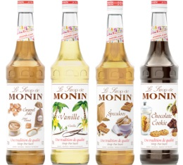 Pack d�couverte Sirops Monin (Caramel Sal�, Vanille, Sp�culoos, Chocolat Cookie) - 4x70cl
