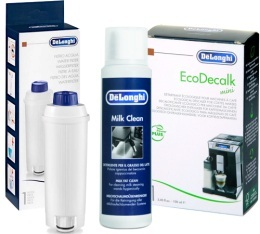 Pack Entretien Delonghi : Cartouche filtrante + D�tartrant + Nettoyant lait