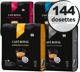 Pack d�couverte - 144 dosettes souples Caf� Royal