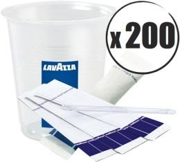 Kit caf� Lavazza : 200 gobelets + touillettes + sucres