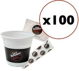 Super Pack Vergnano : 100 gobelets + touillettes + sucres