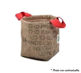Pani�re en Toile de Jute et coton avec anse rouge - S - Lilokawa