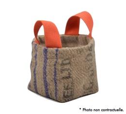 Pani�re en Toile de Jute et coton avec anse orange - S - Lilokawa