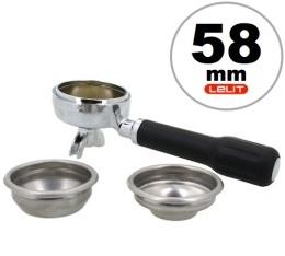Porte-filtre laiton 2 becs 58mm + 2 filtres (1 tasse et 2 tasses) pour machine expresso Lelit
