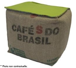 Pouf cube en toile de jute et coton vert - Lilokawa