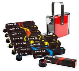 100 capsules Delta Q + Machine Delta Qosy rouge � prix de fou